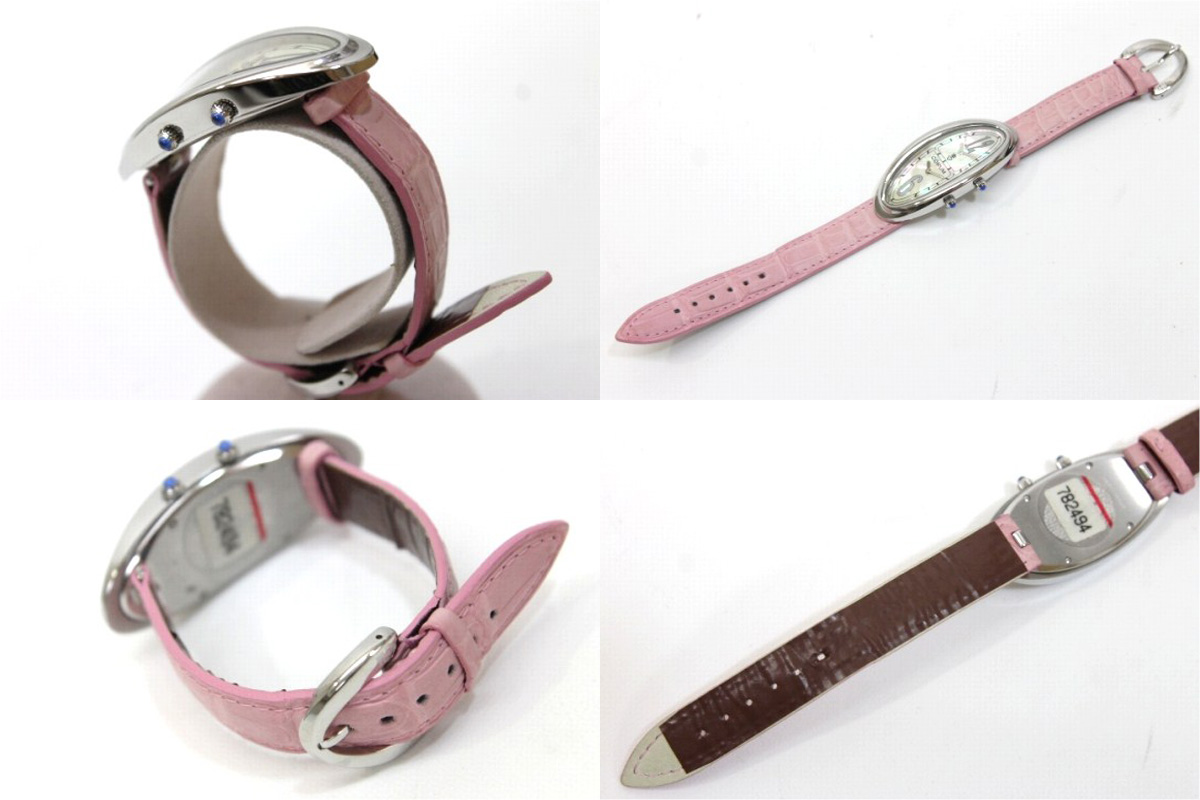 CORUM Corum time oval double shell dial women's watch quartz SS × crocoberto 137.220.20 brand new as well as used KK