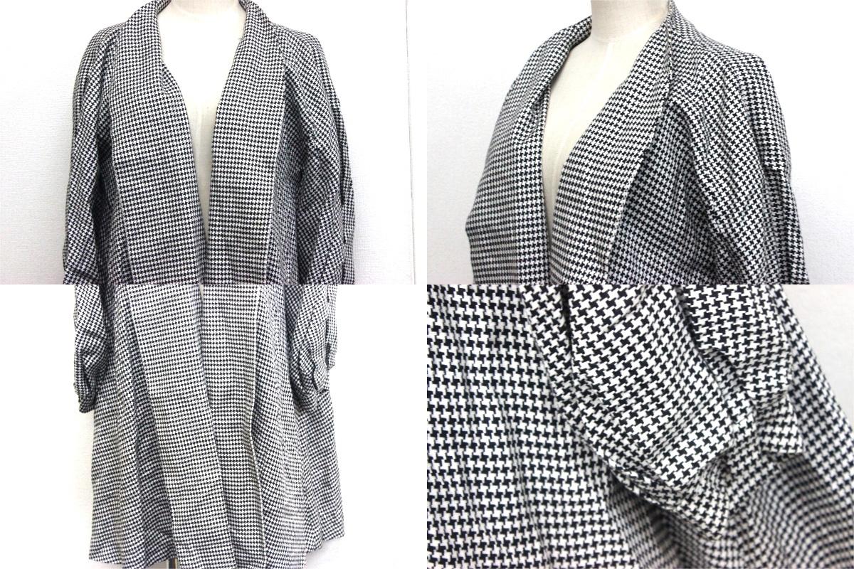 DIOR Dior PRET-A-PORTER MODELE EXPORTATION千鳥花紋女士大衣9黑色×白KK