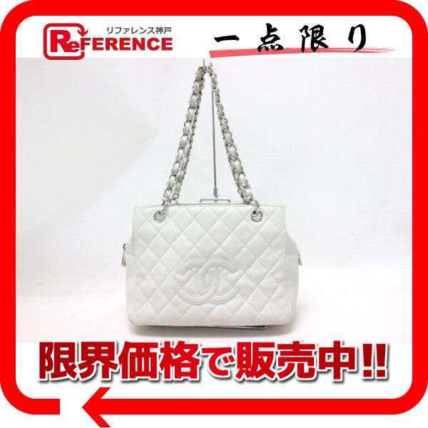 CHANEL シャネル キャビアスキン CC キルティング チェーントートバッグ ホワイト系 【中古】