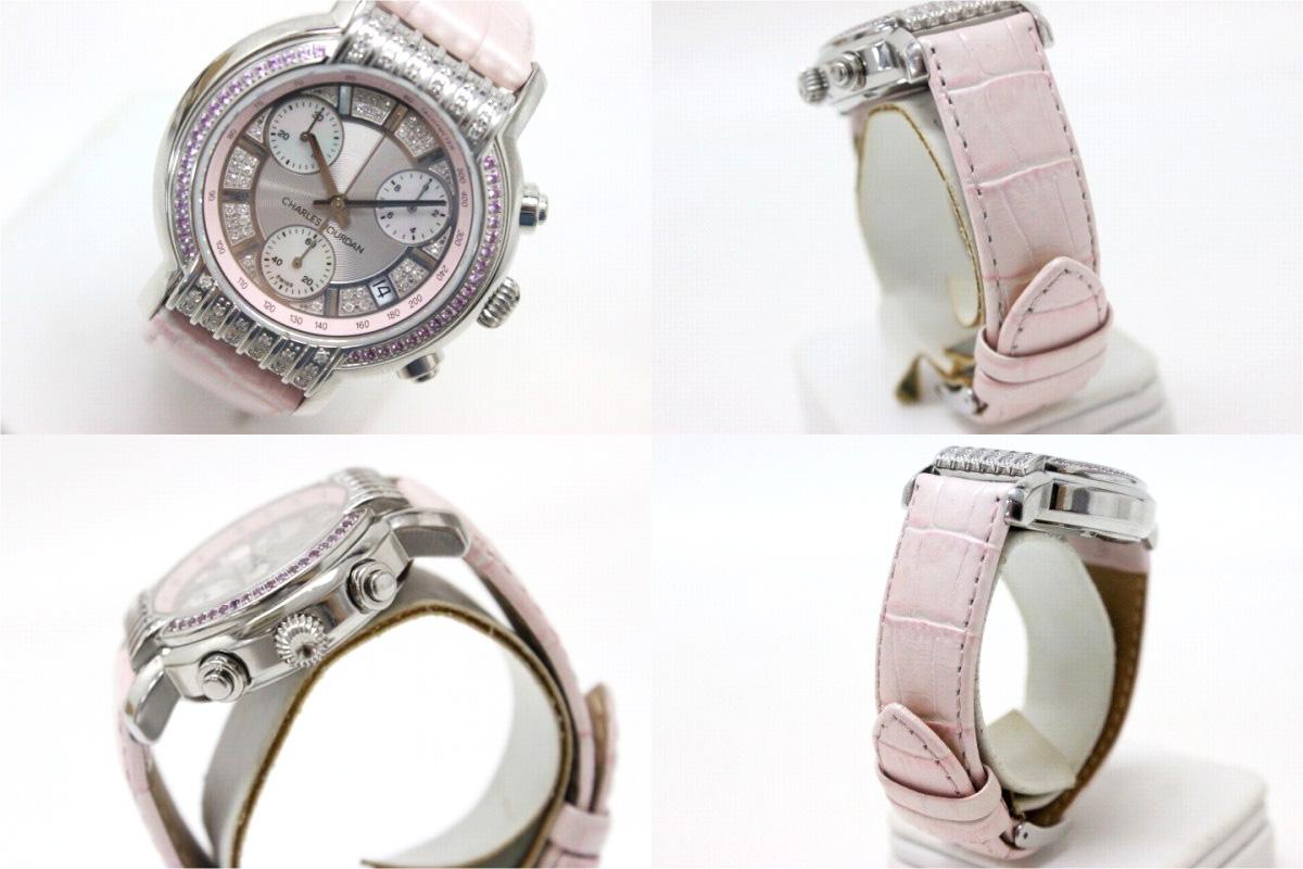 CHARLES JOURDAN沙勒·喬丹計時儀女士手錶SS皮革皮帶列車時間表粉紅藍寶石石英88.12