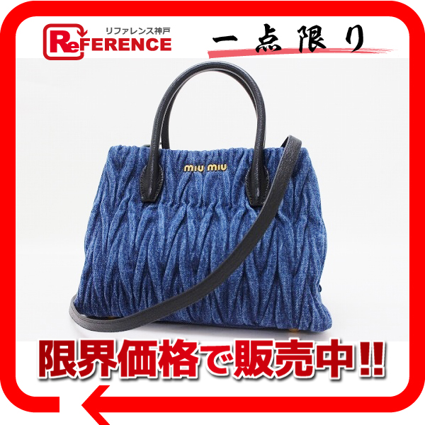 Markdown SALE! MIUMIU Miu Miu DENIM MATELASSE (denimmaterasse) 2-WAY handbag  blue x black 5BG069 used feeefe417b4b3