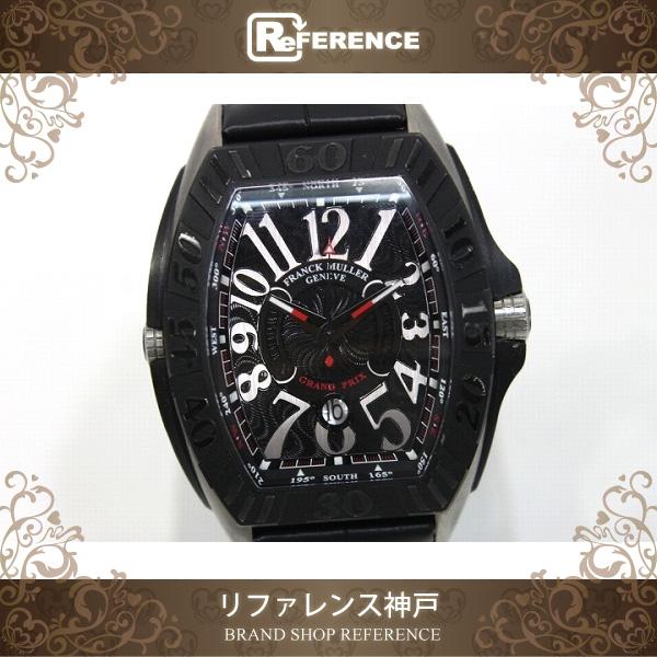 FRANCK MULLER フランクミュラー コンキスタドール グランプリ メンズ腕時計 ブラックチタン クロコベルト 自動巻 ブラック 9900SCGP【中古】 KK
