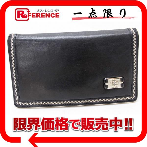 CHANEL シャネル ラムスキン 2.55 2つ折り長財布 ブラック 【中古】