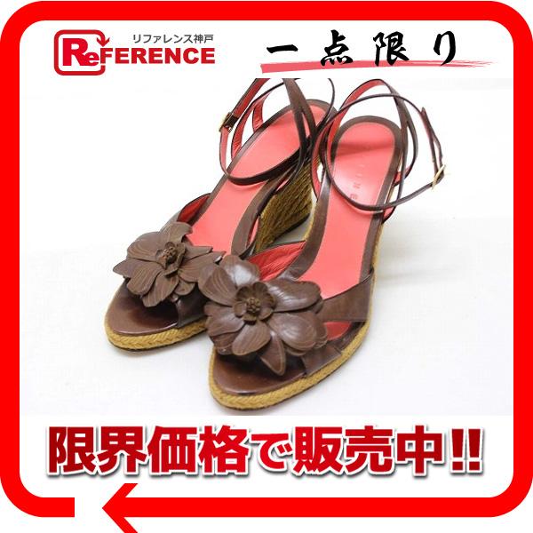 CELINE セリーヌ レザー フラワー サンダル 37 ブラウン 【中古】 KK