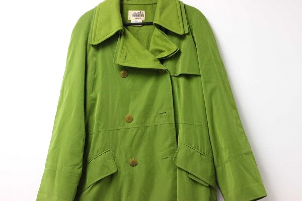 Hermes Womens trench coat 36 green systems fs3gm