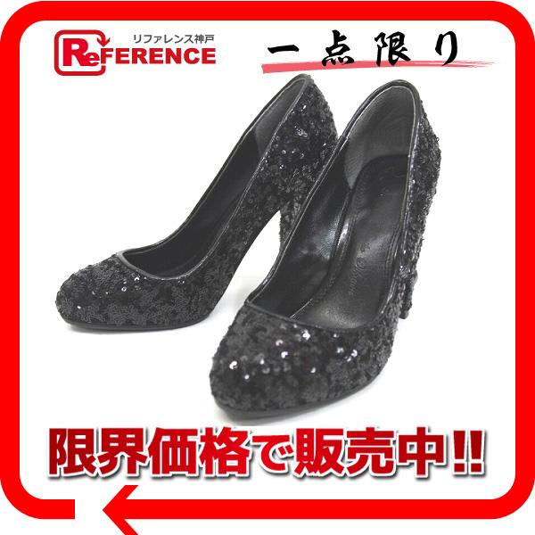 TSURU by Mariko Oikawa ツルバイマリコオイカワ スパンコール ハイヒール パンプス 靴 35 ブラック KK 【中古】
