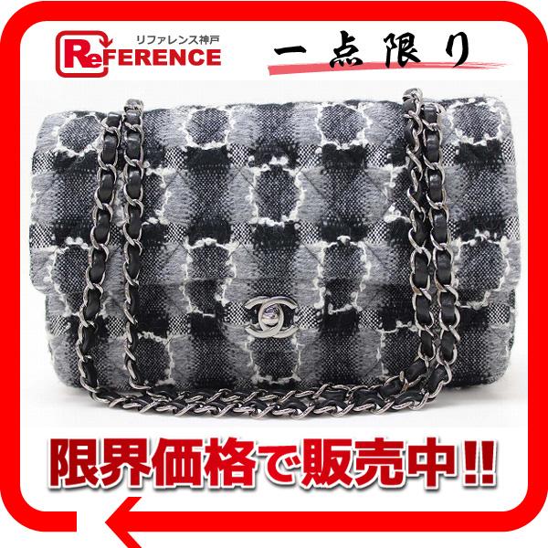 CHANEL シャネル ツイード マトラッセ Wチェーンショルダーバッグ ブラック×グレー 新品同様 【中古】