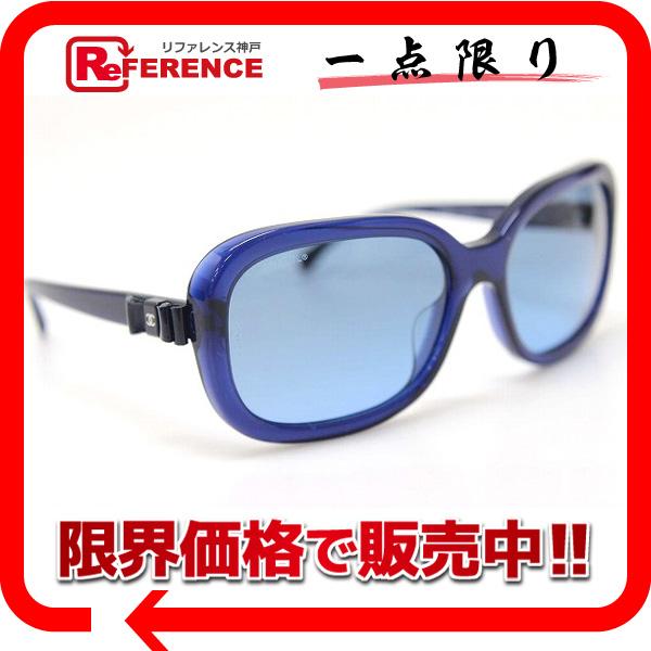 CHANEL シャネル リボン サングラス ブルー 5280-Q-A 美品 【中古】 KK
