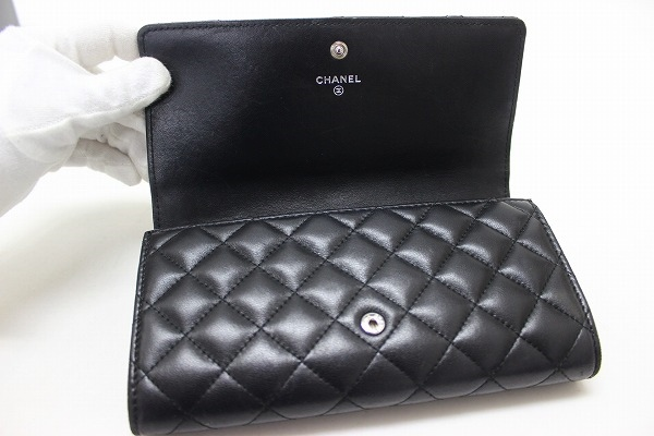 4c3d89849ad0 Two CHANEL Chanel lambskin matelasse here marks fold long wallet black  A80108 0601 Rakuten card division