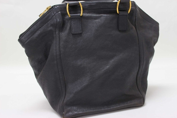 79f2f641a3dac AUTHENTIC YVES SAINT LAURENT Downtown Women s Bag Tote Bag Tote Bag  gray Dark gray Leather