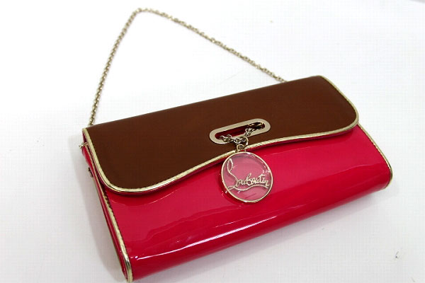 e91c4321d0e AUTHENTIC Christian Louboutin Bicolor Riviera Clutch bag Clutch bag  Brown/pink Calf Leather Skin/Patent Leather 1120586