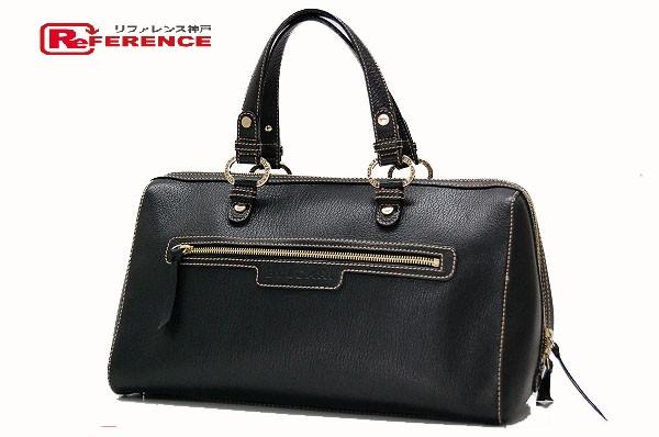BVLGARI ブルガリ 26398 ミニボストンハンドバッグ Chantal Bag(シャンタールバッグ) オバル ハンドバッグ バッファローレザー ブラック レディース【中古】
