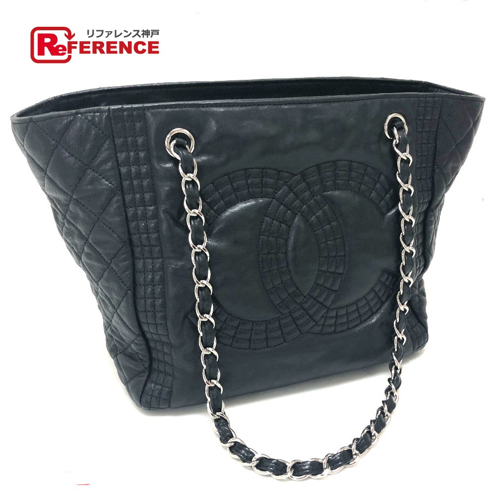 6b7007a738be2b AUTHENTIC CHANEL Check pattern CC CC Mark Quilted Tote Bag Chain Bag  Shoulder Bag Black Leather ...