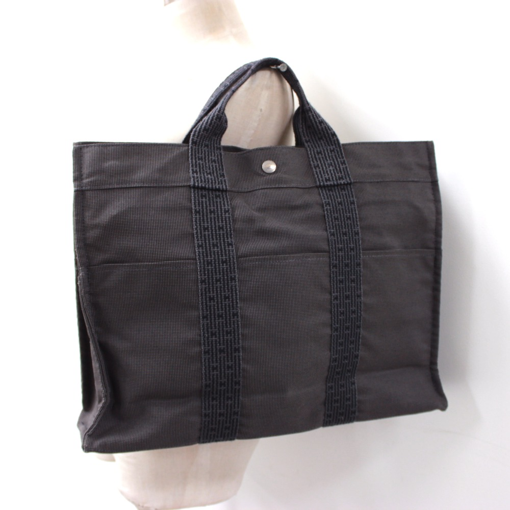 HERMES Hermes men gap Dis Thoth MM yell line tote bag canvas gray unisex