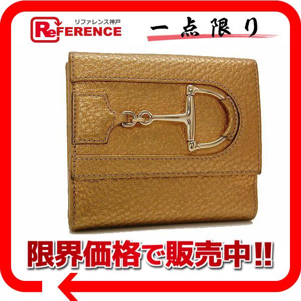 GUCCI グッチ 138029 Wホック財布 ハスラー ビット メンズ レディース 二つ折り財布(小銭入れあり) レザー ゴールド ユニセックス【中古】