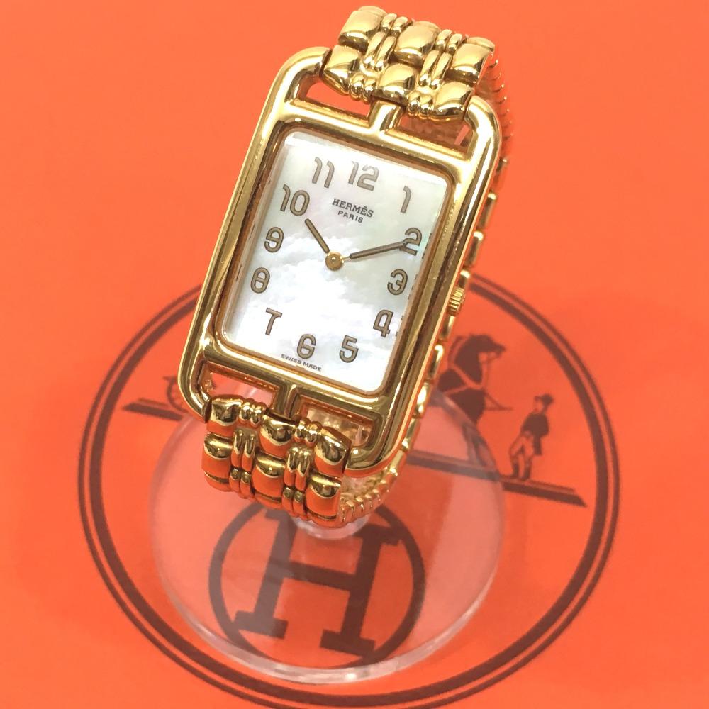 HERMES エルメス NA1.785 レディース腕時計 ナンタケット 腕時計 K18YG/金無垢 イエローゴールド レディース【中古】