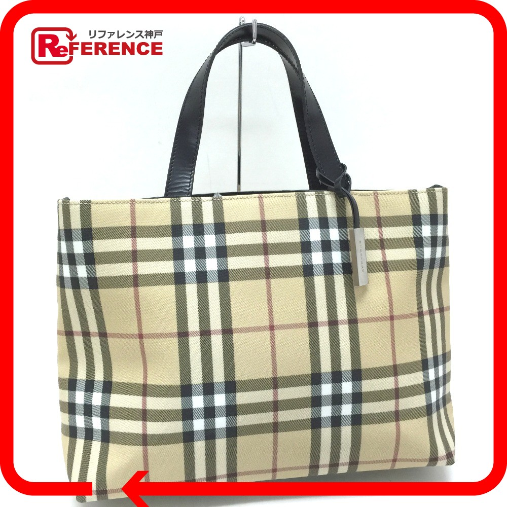 8f2492787a71 BRANDSHOP REFERENCE  AUTHENTIC BURBERRY London Classic check Tote Bag Tote  Bag Beige black PVC leather