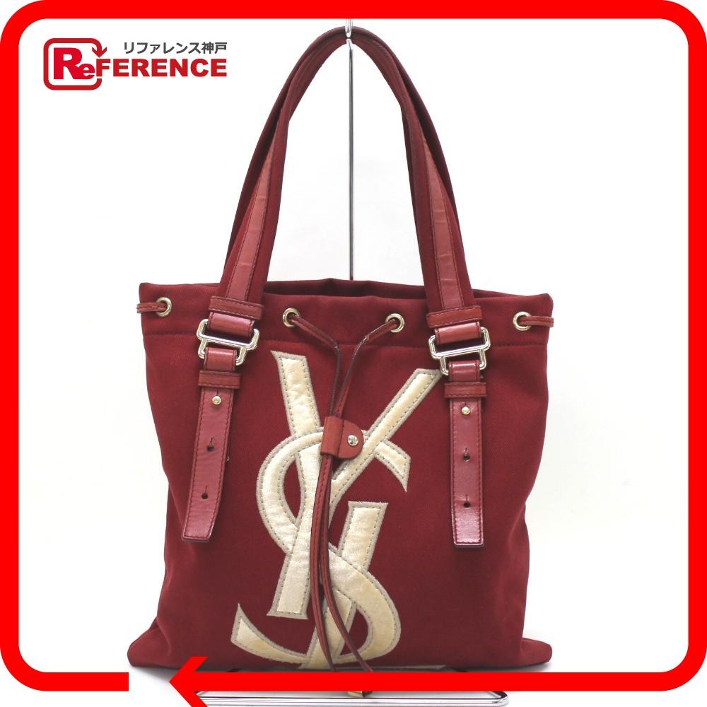 AUTHENTIC YVES SAINT LAURENT Kahala Tote Bag Red Canvas 123435