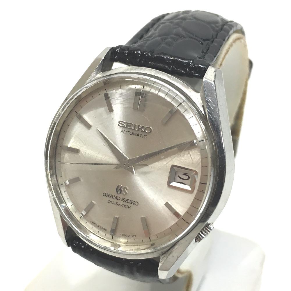 "Seiko Grand Seiko diamond shock men's watch SS first self-winding 6245-9001 antique ""response."""