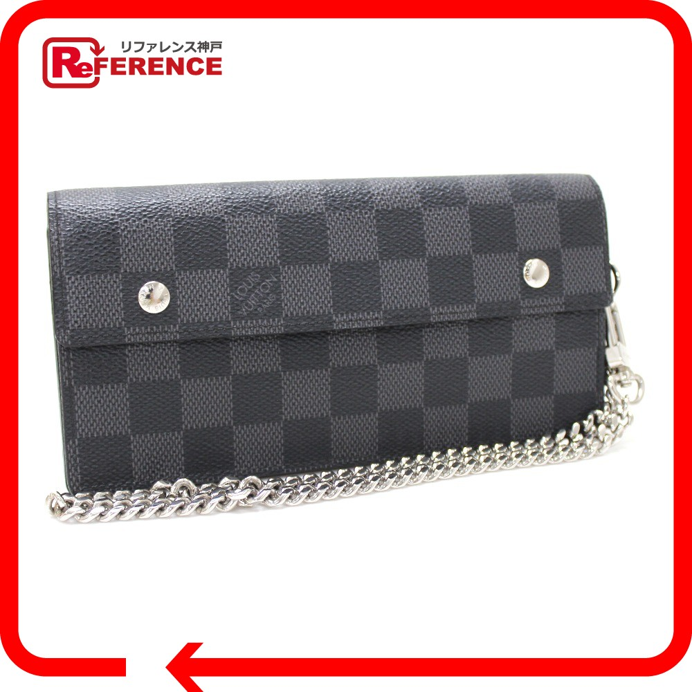 LOUIS VUITTON Louis Vuitton N60023 chain with folded wallet wallet,  accordion length Damier graphite wallets (purses and) fit canvas Damien  grab men s e6c5638572a