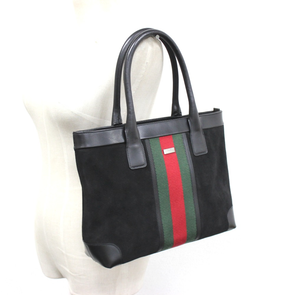 GUCCI Gucci 33890 webbing Sherry line tote bag suede / leather