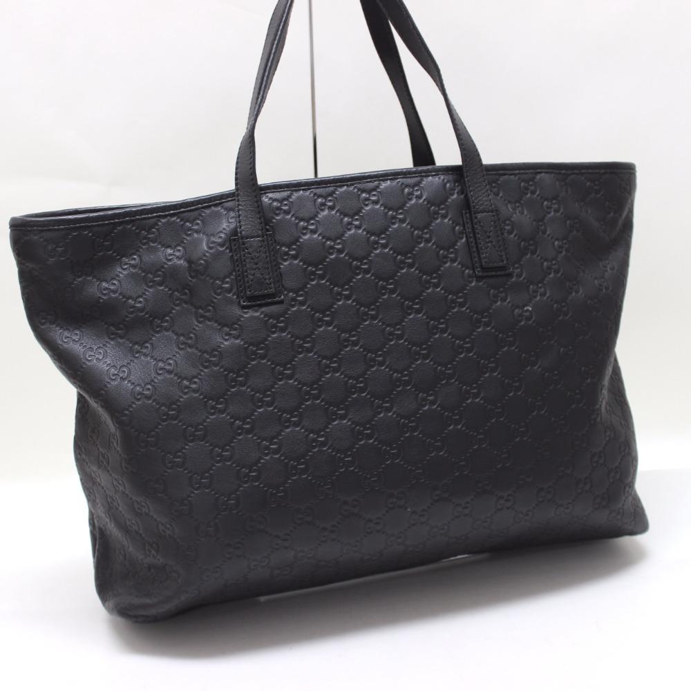 Gucci Guccissima Leather Tote Bag Black 211120