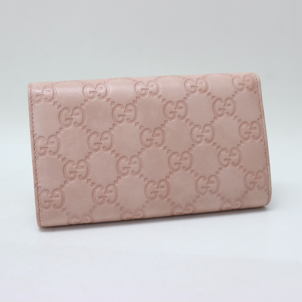 Three GUCCI Gucci 261880 fold wallet clip Gucci sima folio wallet (there is a coin purse) leather Lady's
