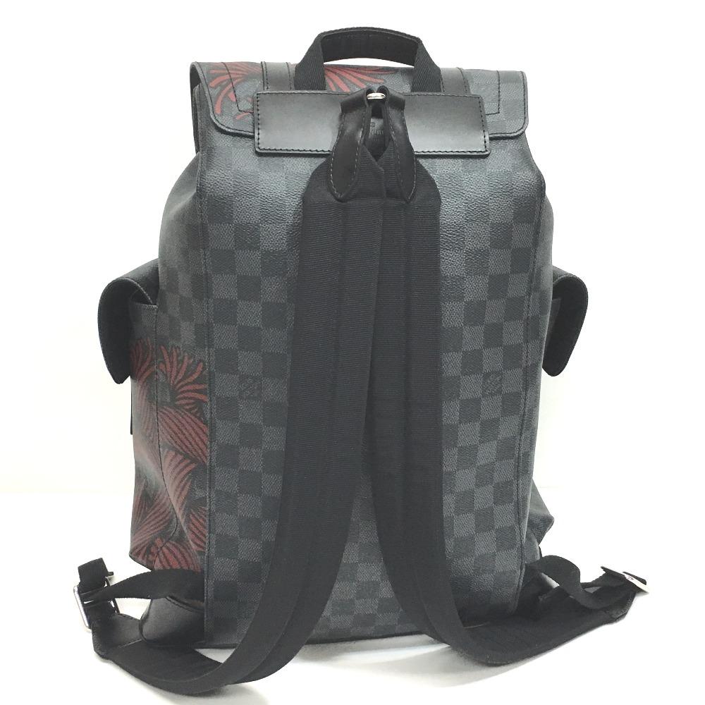 路易 · 威登路易 · 威登 N41709 PM Damier 石墨克里斯多夫的背包,背包石墨雙色格子帆布背包/皮革男裝