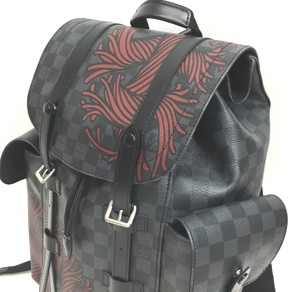 LOUIS VUITTON Damier Graphite Christopher PM Backpack Gray/Red N41709