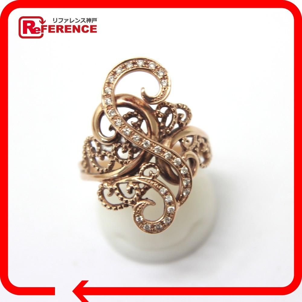 JEWELRY リサイクルジュエリー メレダイヤ デザインリング リング・指輪 K18PG ダイヤモンド 16号【中古】