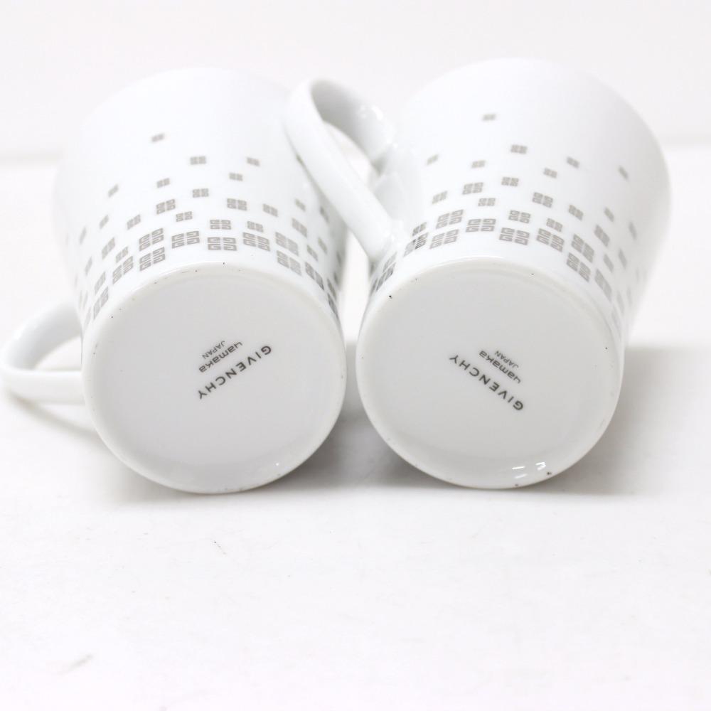 GIVENCHY Yamaka Pair Porcelain Mugs with Tray White