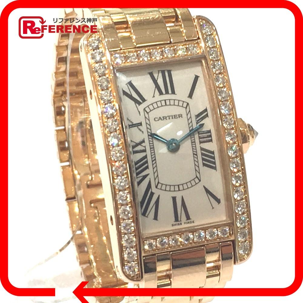 CARTIER カルティエ WB7079M5 レディース腕時計 金無垢 アメリカンSM ダイヤベゼル タンク 腕時計 K18PG/ダイヤモンド ピンクゴールド レディース【中古】