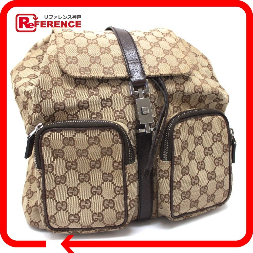 BRANDSHOP REFERENCE  GUCCI Gucci 114552 men s lady s W pocket Jackie  rucksack day pack GG canvas x leather beige unisex   Rakuten Global Market 3e701ee97d