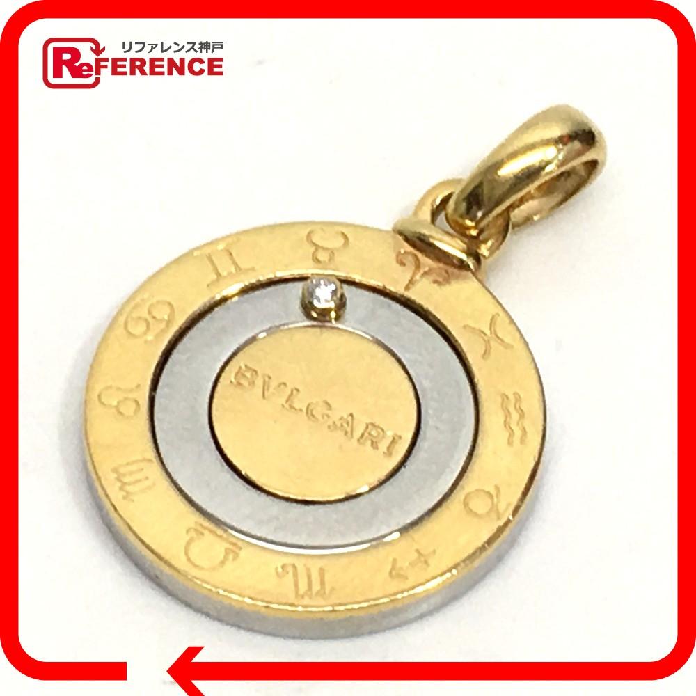 BVLGARI ブルガリ ペンダントトップ メンズ レディース ホロスコープ 12星座 1Pダイヤ ネックレス K18YG/SS ゴールド ユニセックス【中古】