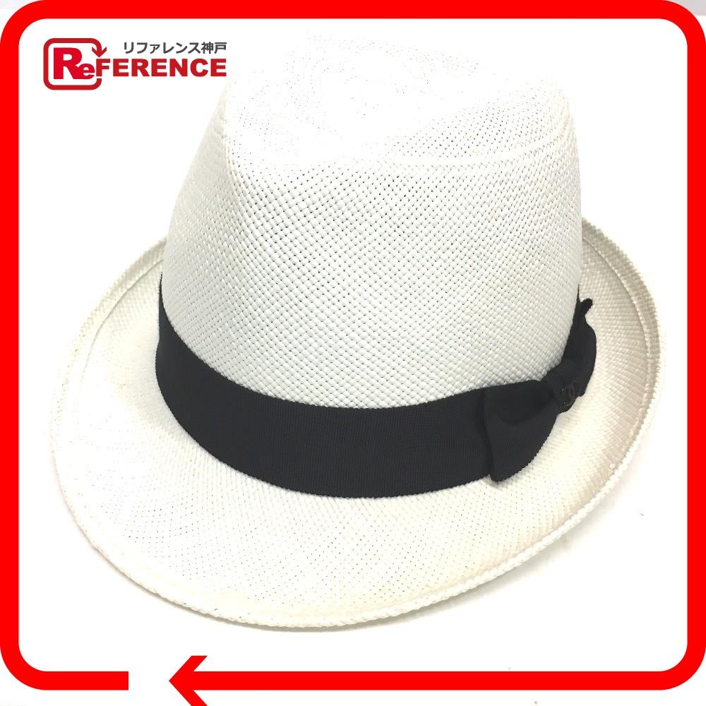 CHANEL シャネル A76314 ストローハット リボンハット 17C 帽子 ストロー ホワイト レディース【中古】