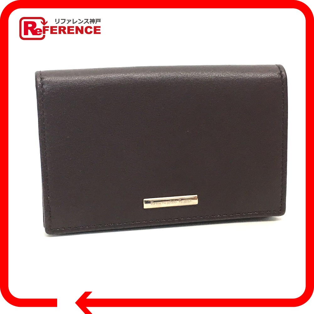 Brandshop reference rakuten global market authentic zegna authentic zegna business card holder put the regular mens womens card case brown leather reheart Image collections