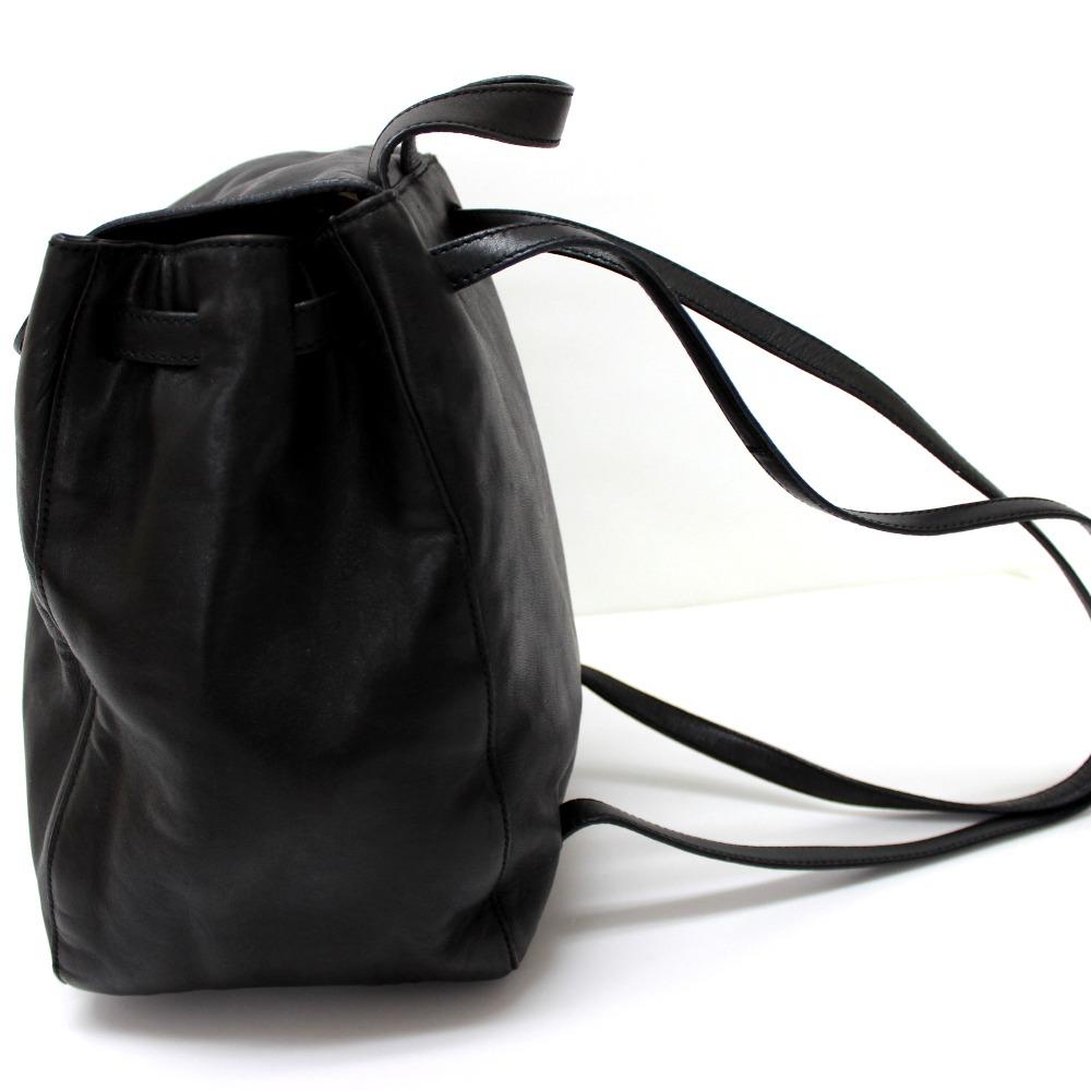 Prada Backpack Handbag Rucksack Day Pack Lambskin Black Lady S