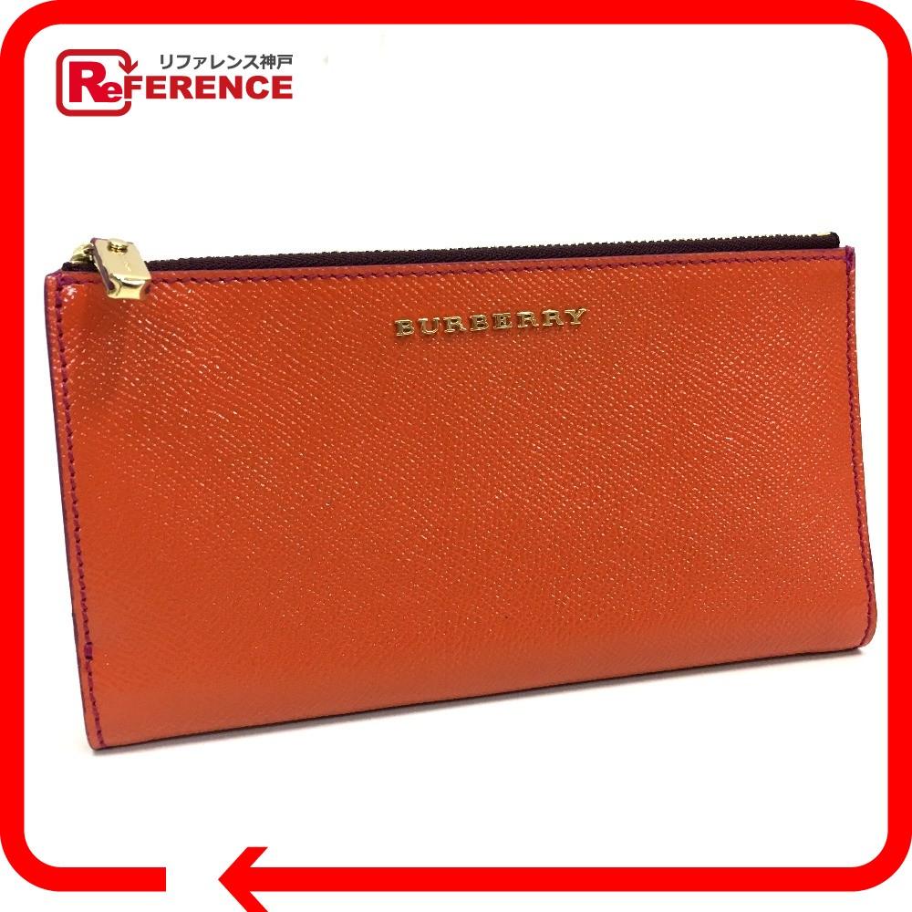 BURBERRY バーバリー コーティングレザー 2つ折り長財布 メンズ レディース 二つ折り財布(小銭入れあり) コーティングレザー オレンジ ユニセックス 未使用【中古】