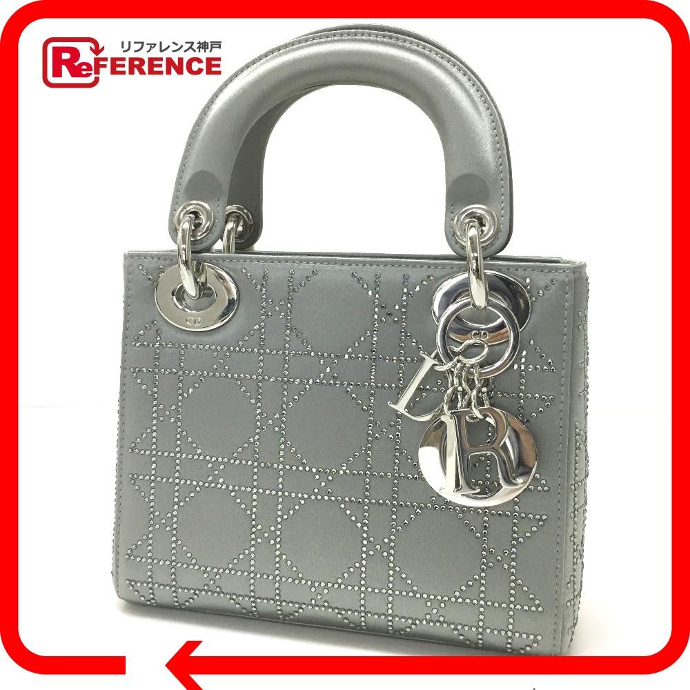 Dior Rhinestone Mini Bag Lady Handbag Satin Silver S
