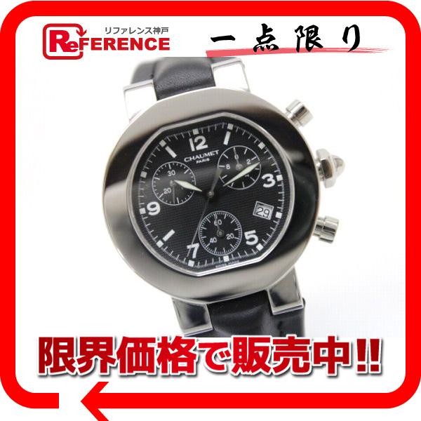 Chaumet ショーメ W03210-025 ボーイズ腕時計 スタイル(ダンディ) クロノグラフ 腕時計 SS×革ベルト ブラック ボーイズ 未使用【中古】