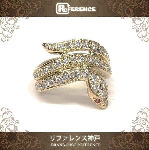 CARTIER カルティエ スネークリング ダイヤモンド ルビー リング・指輪 K18YG 8号 ユニセックス 新品同様【中古】