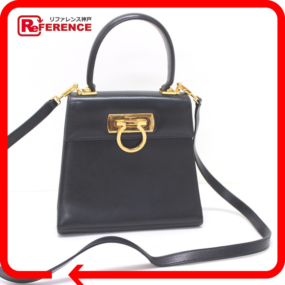 18f6ec59ab5 BRANDSHOP REFERENCE  AUTHENTIC Salvatore Ferragamo Gancini Shoulder Bag  Hand Bag 2way bag Navy Calf LeatherLeather    Rakuten Global Market