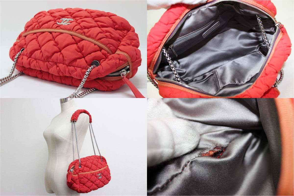 5bdfa99ca020 Brand Reference Chanel Bubble Quilt Chain Shoulder Bag Orange. Lyst Chanel  Red Quilted Lambskin Leather Small Half Flap ...