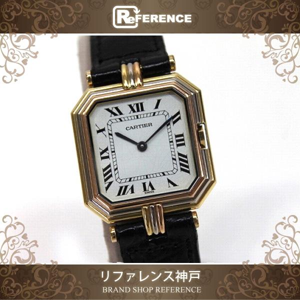 Cartier卡地亞太陽邱爾LM三位一體人手錶石英K18×黑共皮革皮帶
