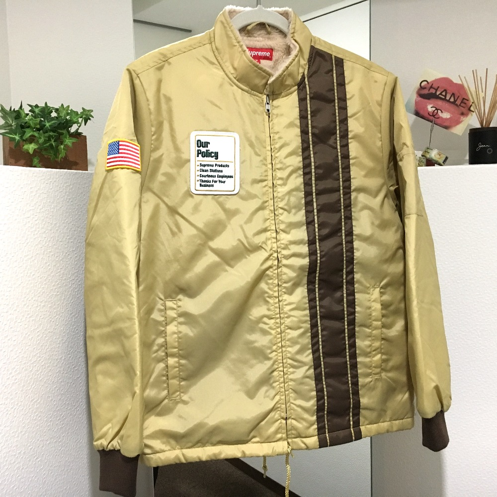 Supreme シュプリーム 17aw Pit Crew Jacket ピットクルージャケット アウター ナイロンジャケット ベージュ メンズ 未使用【中古】