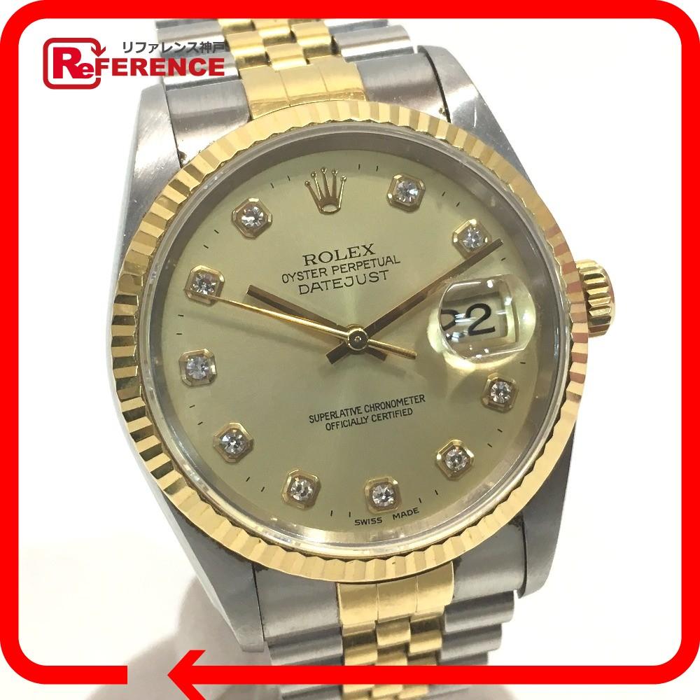 ROLEX ロレックス 16233G メンズ腕時計 デイトジャスト T番 新留10Pダイヤ 腕時計 K18YG/SS シルバー×ゴールド メンズ【中古】