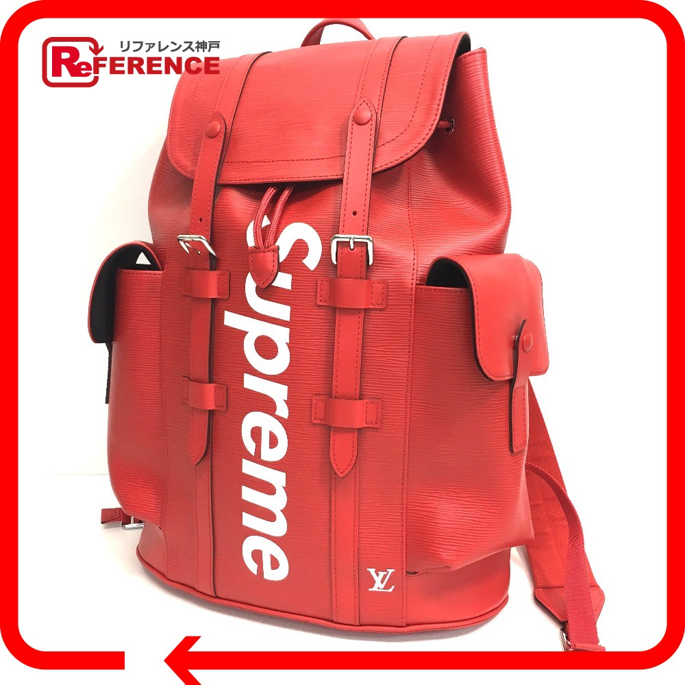 AUTHENTIC LOUIS VUITTON Louis Vuitton x Supreme Epi Christopher PM backpack  17 AW Supreme Louis Vuitton christopher backpack pm red Backpack - Daypack  Red ... b72a9f82ff1fd