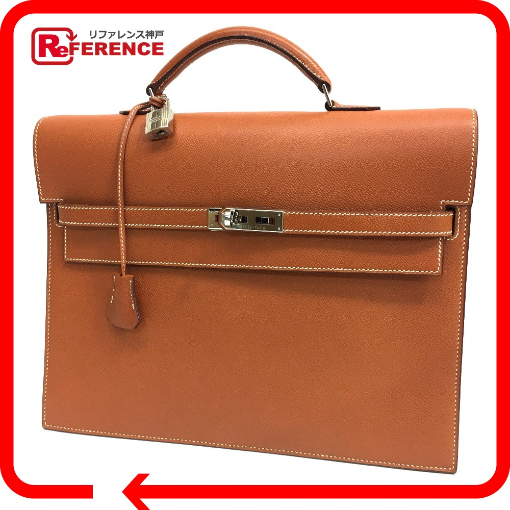 ee67b0e6e6c8 AUTHENTIC HERMES Kelly Depeche 34 Briefcase Business bag  Gold SilverHardware Epsom