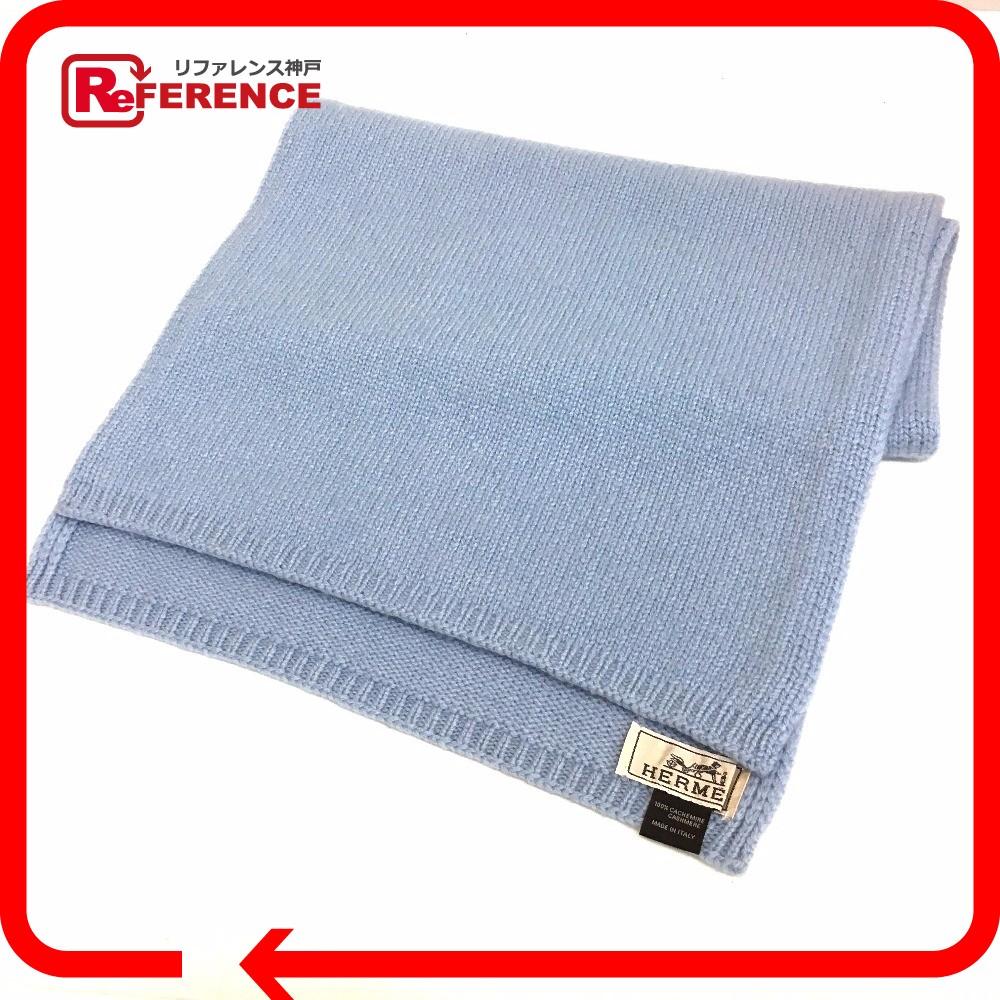 8c9aa72cf65 AUTHENTIC HERMES Cashmere Fashion accessories Men s Women s Scarf Light blue