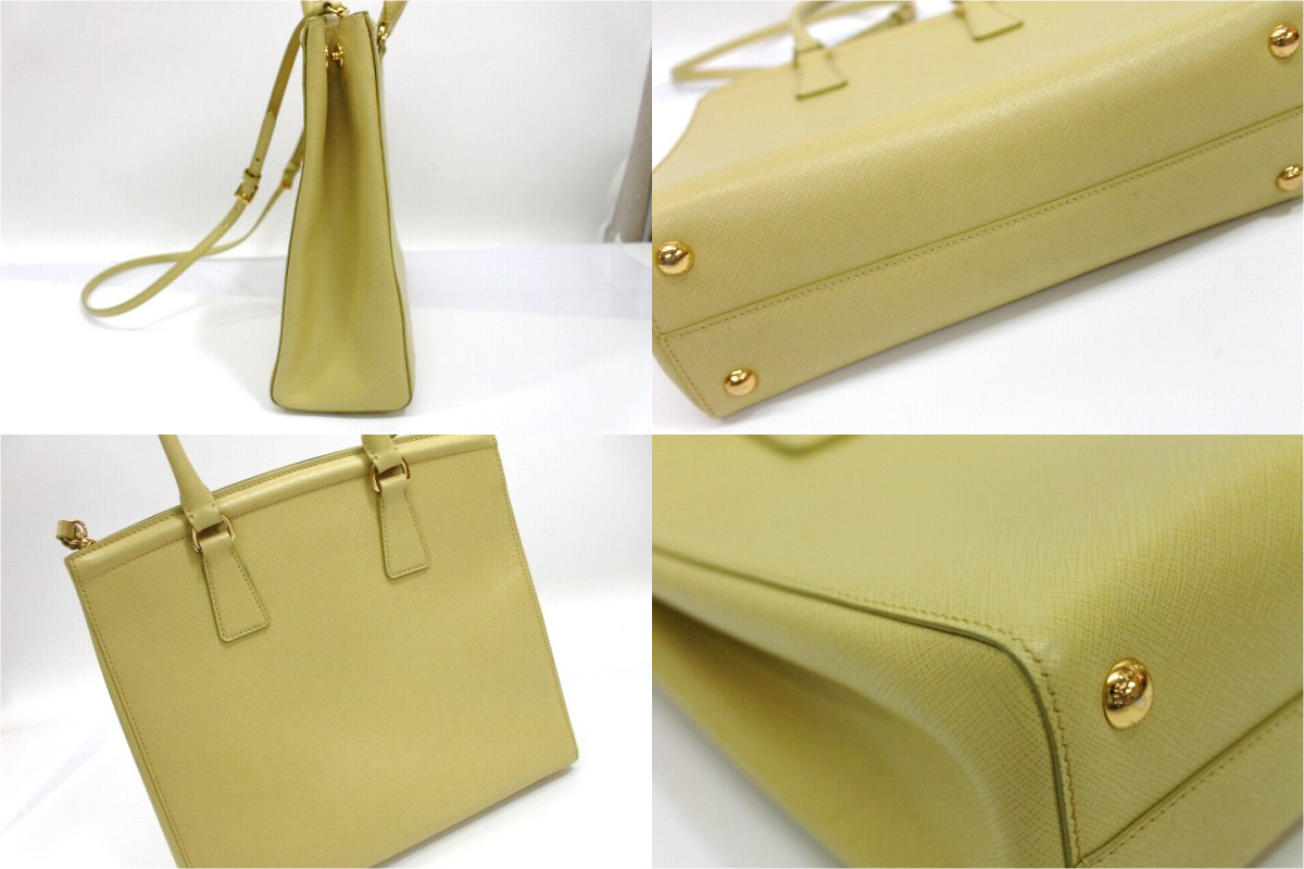 PRADA Saffiano 2Way Hand Bag Soft Yellow B2411M